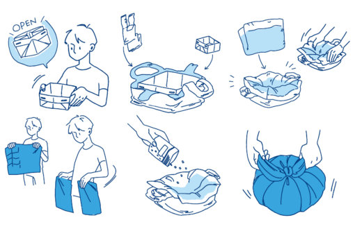 緊急携帯用トイレのイラスト,フライヤー制作